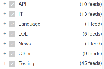 "45 RSS feeds in ""Testing"" category"